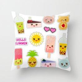Hello Summer. Pineapple, cherry smoothie cup, ice cream, sun, cat, cake, hamster. Kawaii cute face. Throw Pillow