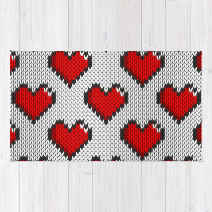 Knitted Heart Pattern White Rug By Knittedcake Society6