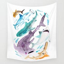 Help Stop Shark Finning - Watercolor Ocean Animals - Fish Wall Tapestry