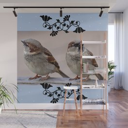 Two Birds on a Branch Wall Mural