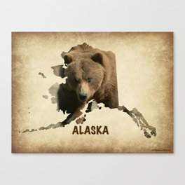 Alaskan Grizzly Map Canvas Print