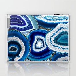 Agate Slices Art, Blue Agate, Mid Century Art, Gemstones Laptop & iPad Skin