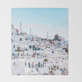 Santorini Greece Ligh Blue Sky Throw Blanket