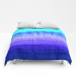 Ocean Horizon - cobalt blue, purple & mint watercolor abstract Comforters