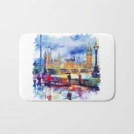 London Rain watercolor Bath Mat