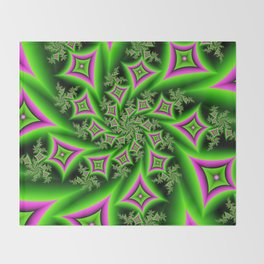Green And Pink Shapes Fractal Throw Blanket