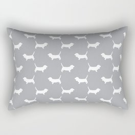 Basset Hound silhouette grey and white dog art dog breed pattern simple minimal Rectangular Pillow