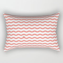 Waves with Tiny Boat ~ coral red Rectangular Pillow