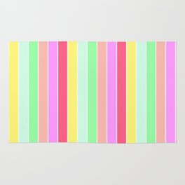 Pastel Rainbow Sorbet Deck Chair Stripes Rug