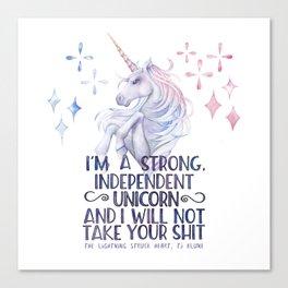 I am a strong independent unicorn - The lightning struck heart Canvas Print
