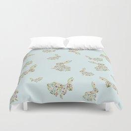 Spring Flowers Bunny on Blue Duvet Cover
