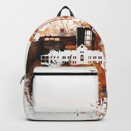 Brown Watercolor Tucson watercolor skyline Backpack