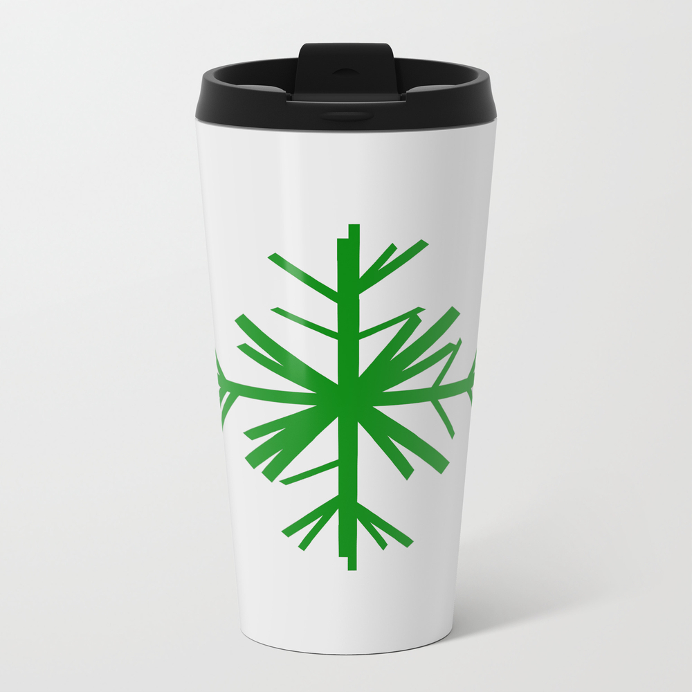Christmas Winter Snowflake: Green Travel Mug TRM9008793