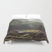 shaun of the dead Duvet Covers featuring Foggy Forest Creek by Kevin Russ