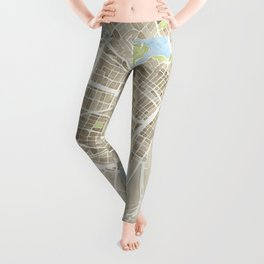 Oakland California Watercolor Map Leggings