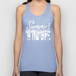 Summer TIME Nautical Solid Red, Seagull, Lounge Chair, Lighthouse, Anchor, Rope, Compass, Sail Boat Unisex Tank Top