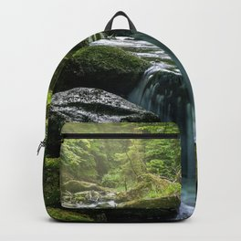 Flowing Creek, Green Mossy Rocks, Forest Nature Photography Backpack