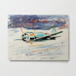 Airplane lost in the snow Metal Print