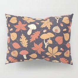 Autumn Pattern on Dark Blue Pillow Sham
