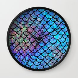 Colorful Mermaid Scales Wall Clock