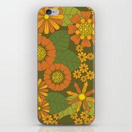 Orange, Brown, Yellow and Green Retro Daisy Pattern iPhone Skin