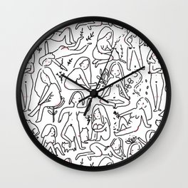 Doodle naked woman Wall Clock