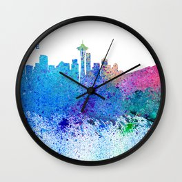 Seattle Skyline Silhouette Impressionistic Splash Wall Clock
