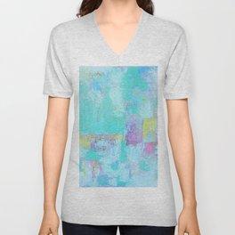 Turquoise, Blue Abstract Work Unisex V-Neck