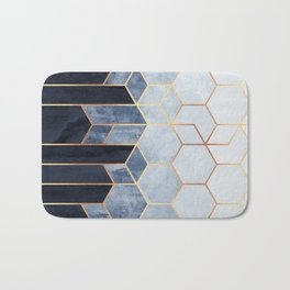 Soft Blue Hexagons Badematte