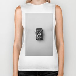 Old Camera (Black and White) Biker Tank