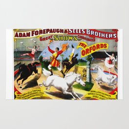 Vintage Circus Poster - Horse Trick Riders Rug