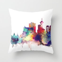 Vancouver Watercolor Skyline Throw Pillow