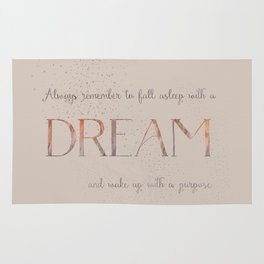 Always remember to fall asleep with a dream - Gold Vintage Glitter Typography Rug