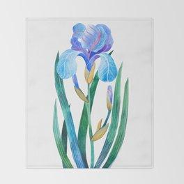 Light Blue Iris Throw Blanket