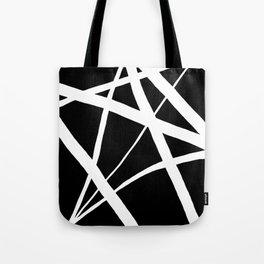 Geometric Line Abstract - Black White Tote Bag
