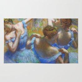 """Edgar Degas """"Dancers in blue"""" Rug"""