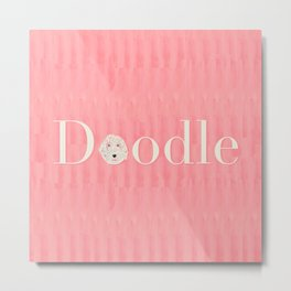 Pink Golden Doodle Metal Print