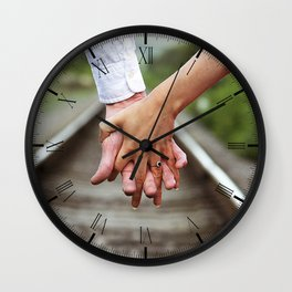 Holding Hands And Engaged Wall Clock
