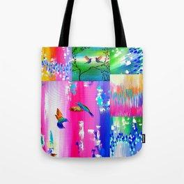 Hummingbird Collage Tote Bag