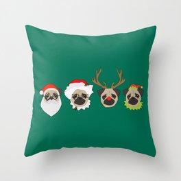 Christmas Pugs Throw Pillow