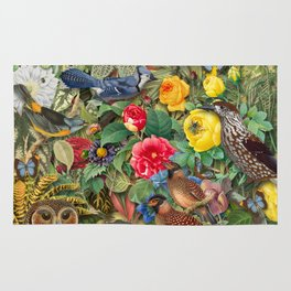 Birds Insects Plants Rug