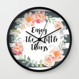 Wreath peony and rose with quote. Wall Clock
