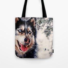 Playful Husky Tote Bag