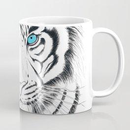 White Bengal tiger Blue Eyes Ink Art Coffee Mug