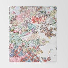 Boston map portrait Throw Blanket