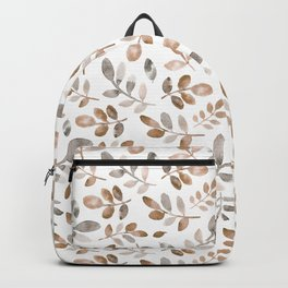 Watercolor brown fall autumn leaves floral Backpack