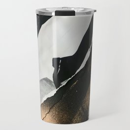 Stay | Collage Series 2 | mixed-media piece in gold, black and white + book pages Travel Mug