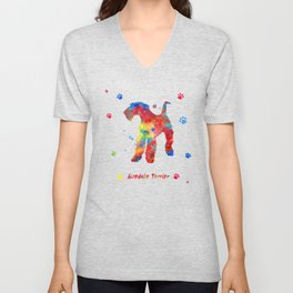 Airedale Terrier Watercolor Colorful Abstract Unisex V-Neck