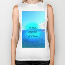 Serenity Prayer With Blue Ocean and Amazing Sky Biker Tank