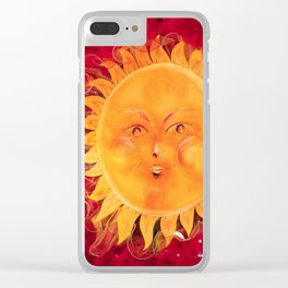 Digital painting of a chubby sun with a funny face Clear iPhone Case